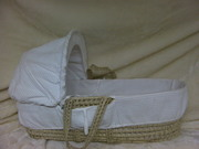 White Baby Moses Basket with Rocking Stand